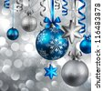Christmas background with blue and silver baubles. Check my portfolio for vector version. - stock vector