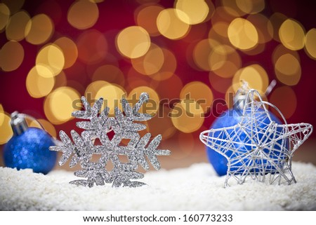 Christmas background with blue ornament