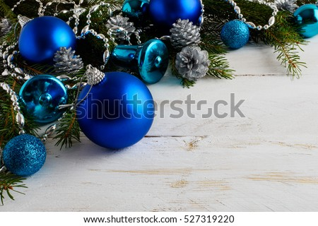 Christmas Background With Blue Ornaments Silver Beads And Pine Cones Greeting Card