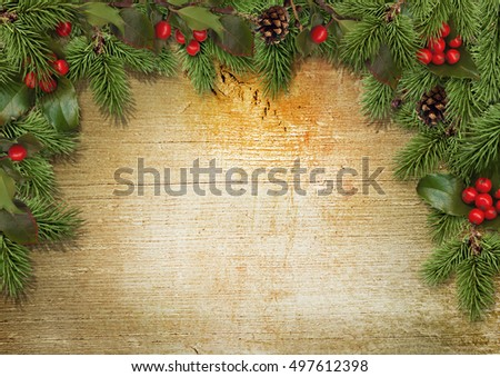 Christmas background with border of holly, mistletoe, cones, fir branches