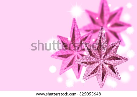 Christmas background with bright flare and traditional decorations - stock photo