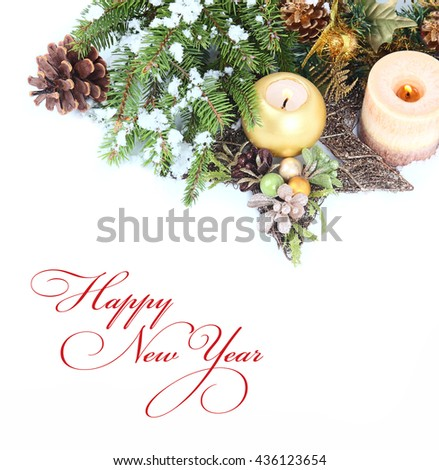 Christmas background with candle and Christmas tree - stock photo