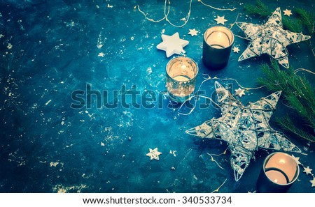 Christmas background with Christmas decoration. Toned image. Lots of copy space - stock photo