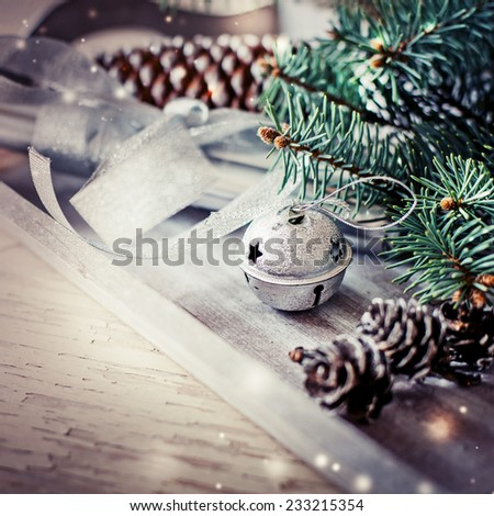 Christmas background with christmas decorations and candels / toned pictures - stock photo