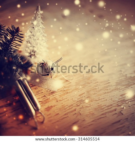 Christmas background with christmas decorations and candles / toned pictures - stock photo