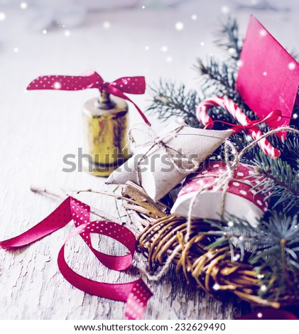 christmas background with christmas decorations on wooden background in vintage color