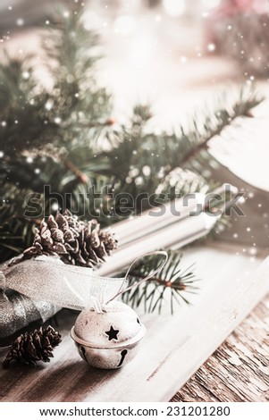 Christmas background with christmas decorations / toned pictures - stock photo