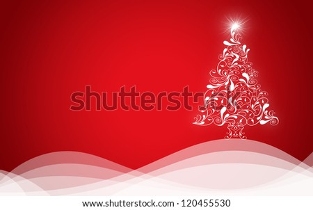 Christmas background with Christmas tree - stock photo