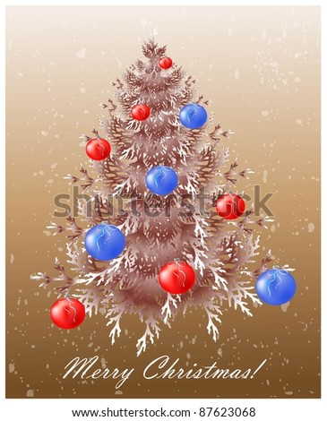 Christmas background with christmas tree. - stock photo