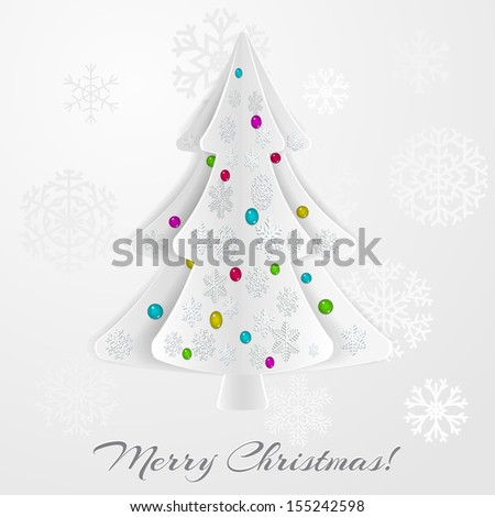 Christmas background with christmas tree and snowflakes. Raster version. - stock photo