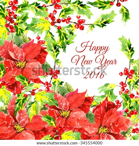 Christmas background with cool red flowers and holly leaves isolated on white background. Floral decoration elements. Horizontal banner with corner embellishment and copy space. New Year card design  - stock photo