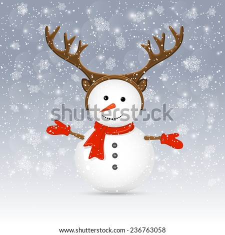 Christmas background with cute snowman and antler, illustration. - stock photo