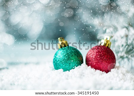 Christmas background with decorations on wooden board. Soft focus. - stock photo