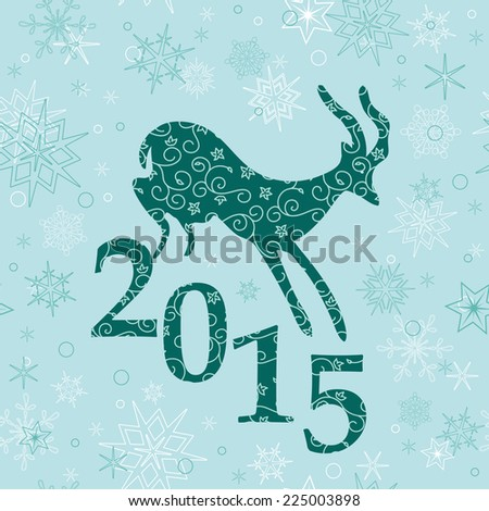 christmas background with emerald goat - stock photo