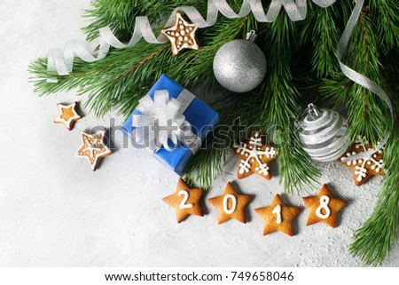 Christmas Background Festive Decoration Box Gift Stock Photo Edit