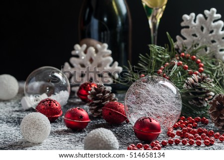 Christmas background with festive decoration, snowflakes, balls and champagne. Christmas background with copy space