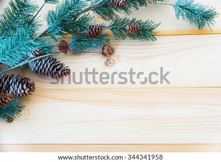 Christmas background with fir branches - stock photo