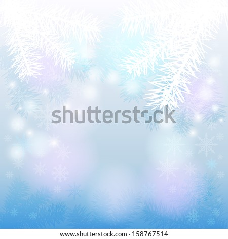 Christmas background with fir branches and snowflakes. Raster copy  - stock photo
