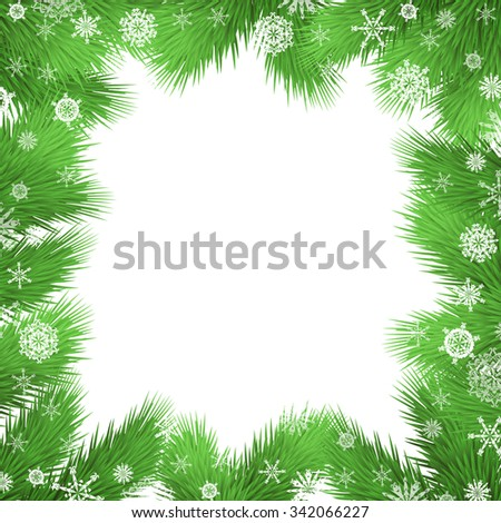 Christmas background with fir twigs, christmas tree branches border