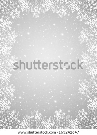 Christmas background with frame of colored and white snowflakes