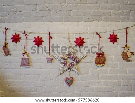 christmas decoration on wood plant stock photo 226299244 shutterstock. Black Bedroom Furniture Sets. Home Design Ideas