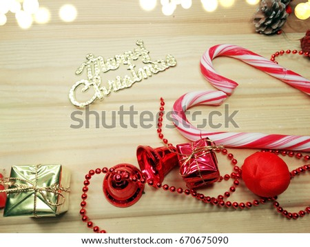 christmas background with garland on wooden board
