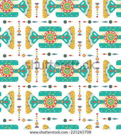 Christmas background with geometric ornament, big sweet candy and text, seamless pattern - stock photo