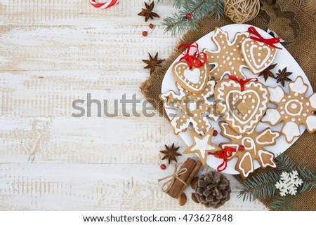 Christmas background with ginger biscuits