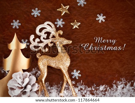 christmas background with gold deer and snowflake - stock photo