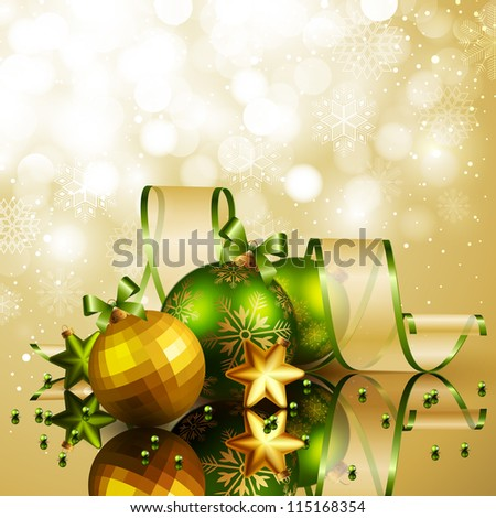 Christmas background with green and golden balls. Check my portfolio for vector version. - stock photo