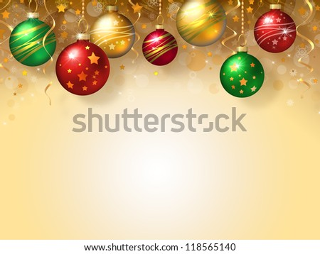 Christmas background with green, red and gold balls - stock photo