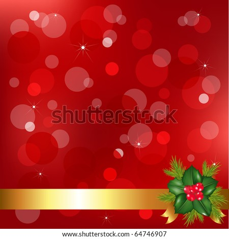 Christmas Background With Holly Berry And Bokeh - stock photo