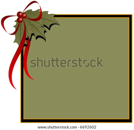 Christmas background with holly leaves and red ribbon.