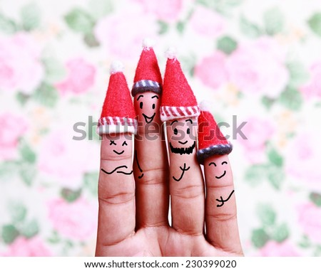 Christmas background with human finger concept  - stock photo