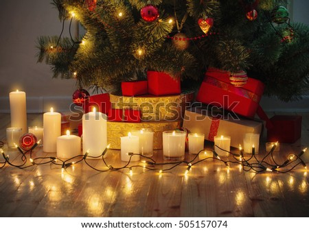 Christmas background with illuminated fir tree  at house