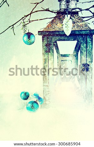 Christmas background with lantern and snow. - stock photo