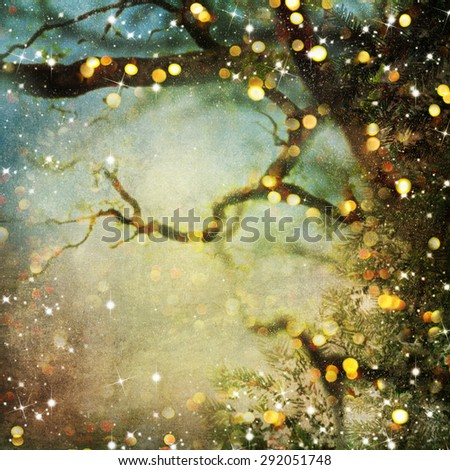 Christmas background with light bokeh - stock photo