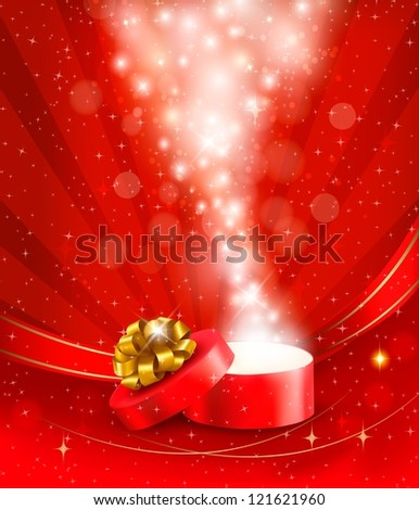 Christmas background with open gift box. Raster version of vector