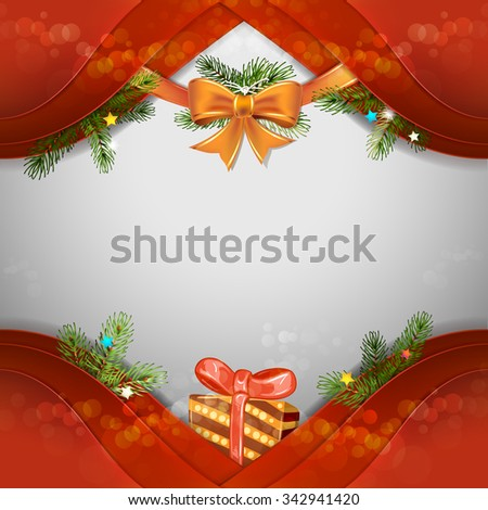 Christmas background with pine tree and gift box - stock photo