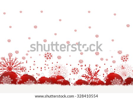 Christmas background with  red balls. - stock photo