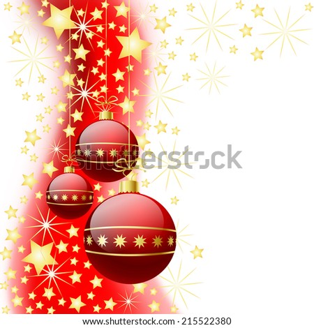Christmas background with red baubles and stars