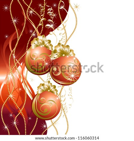 Christmas background with red evening balls - stock photo