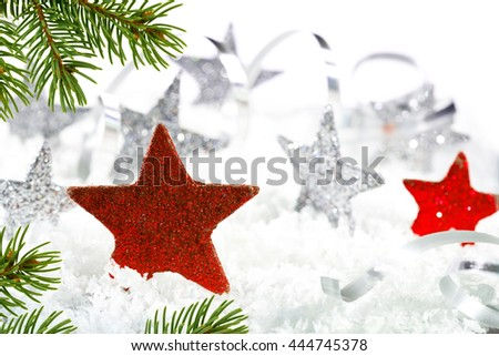 Christmas background with red stars and christmas twig - stock photo