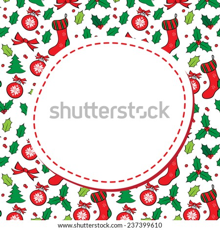 Christmas background with round frame and place for text