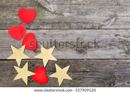 Christmas background with rustic wooden background and ornaments - stock photo
