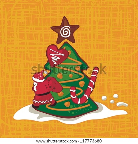Christmas background with seasonal gingerbread figures - stock photo