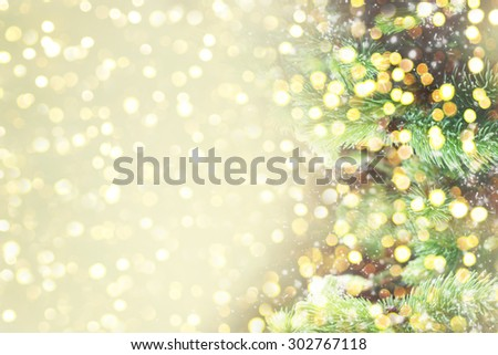 Christmas background with shining lights - stock photo