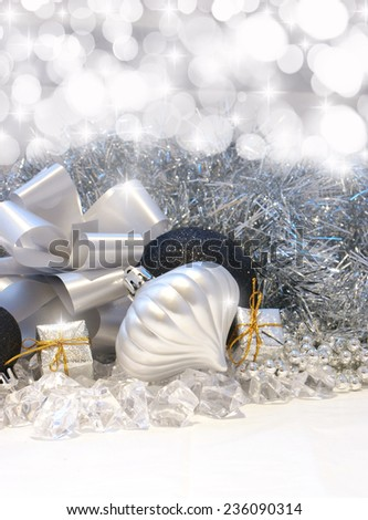 Christmas background with silver and black decorations