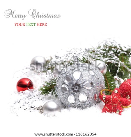 Christmas background with silver and red decoration - stock photo