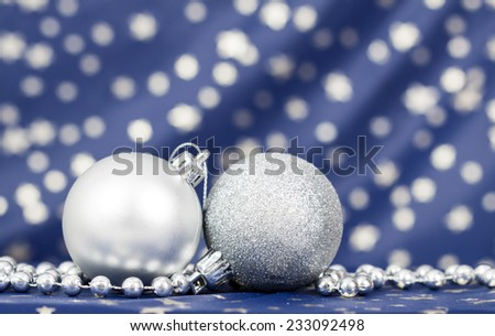 Christmas background with silver Christmas balls  - stock photo